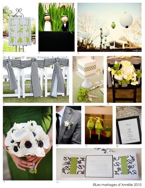 Tableau d'inspiration 1 : vert, noir et blanc